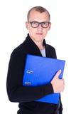 Άνδρων ή εργαζόμενος γραφείων που απομονώνεται σπουδαστής νεαρών στο λευκό Στοκ Φωτογραφίες