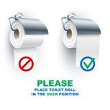 Άξονας ρόλων χαρτιού τουαλέτας κάτω από πέρα από τους κανόνες θέσης Στοκ εικόνες με δικαίωμα ελεύθερης χρήσης