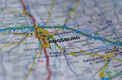 Άουγκσμπουργκ στο χάρτη Στοκ φωτογραφία με δικαίωμα ελεύθερης χρήσης