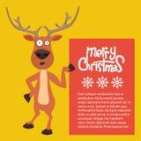 Άπαχο κρέας ταράνδων Santas Χριστουγέννων κινούμενων σχεδίων επάνω και δείχνοντας σε ένα σημάδι απεικόνιση αποθεμάτων