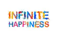 Άπειρη ευτυχία, επιγραφή χρωμάτων παφλασμών απεικόνιση αποθεμάτων