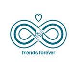Άπειρη φιλία, φίλοι για πάντα, ειδικό διανυσματικό λογότυπο combin διανυσματική απεικόνιση