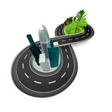 Άπειρος δρόμος από τη φύση στην πόλη απεικόνιση αποθεμάτων