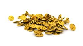 Άπειρο, άνευ ραφής βρόχος στη δέσμη ή σωρός του επεξηγηματικού χρυσού νομίσματος, απομόνωση υποβάθρου στο λευκό διανυσματική απεικόνιση