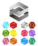 Άπειρο διαγώνιο λογότυπο σχεδίου κορδελλών διανυσματικό Στοκ εικόνα με δικαίωμα ελεύθερης χρήσης