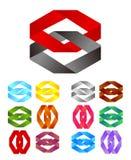 Άπειρο διαγώνιο λογότυπο σχεδίου κορδελλών διανυσματικό Στοκ Εικόνα