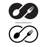 Άπειρο & εικονίδιο εστιατορίων Τρόφιμα & εικονίδιο απείρου Δίκρανο & κουτάλι απεικόνιση αποθεμάτων