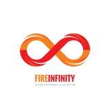 Άπειρο - διανυσματική απεικόνιση έννοιας προτύπων λογότυπων στο επίπεδο ύφος Αφηρημένο δημιουργικό σημάδι μορφής φλογών πυρκαγιάς διανυσματική απεικόνιση