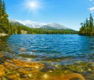 Άποψη άνοιξη Strbske Pleso λιμνών (Σλοβακία) Στοκ φωτογραφία με δικαίωμα ελεύθερης χρήσης