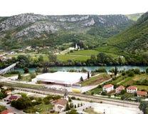 Άποψη άνωθεν σχετικά με μικρού χωριού Pocitelj, Βοσνία-Ger Στοκ Φωτογραφία