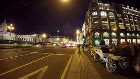 Άποψη Αγίου Πετρούπολη του Kazan καθεδρικού ναού και της προοπτικής Nevsky απόθεμα βίντεο