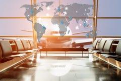 Άποψη αεροπλάνων από το σαλόνι αερολιμένων στο τερματικό αερολιμένων Στοκ εικόνες με δικαίωμα ελεύθερης χρήσης