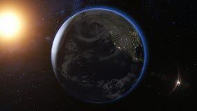 Άποψη ανατολής από το διάστημα στο πλανήτη Γη τρισδιάστατος δώστε διανυσματική απεικόνιση