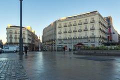 Άποψη ανατολής Puerta del Sol στη Μαδρίτη, Ισπανία Στοκ Εικόνα