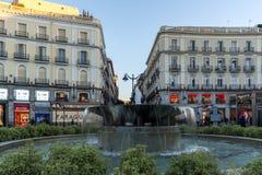 Άποψη ανατολής Puerta del Sol στη Μαδρίτη, Ισπανία Στοκ Εικόνες