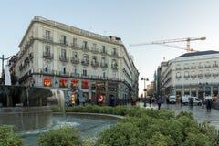 Άποψη ανατολής Puerta del Sol στη Μαδρίτη, Ισπανία Στοκ φωτογραφία με δικαίωμα ελεύθερης χρήσης