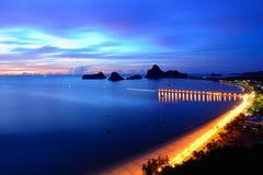 Άποψη ανατολής του κόλπου AO Manao σε Prachuap Khiri Khan, Ταϊλάνδη Στοκ Εικόνα