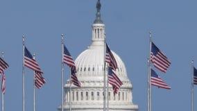 Άποψη απόμακρων πιθανοτήτων του θόλου και των αμερικανικών σημαιών Capitol φιλμ μικρού μήκους