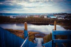 Άποψη από ένα παλαιό εγκαταλειμμένο άλμα σκι Στοκ Φωτογραφία