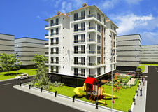 Άποψη από έξω από το τρισδιάστατο σχεδιασμένο διαμέρισμα Στοκ εικόνα με δικαίωμα ελεύθερης χρήσης