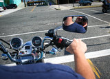 Άποψη από μια μοτοσικλέτα στοκ φωτογραφίες