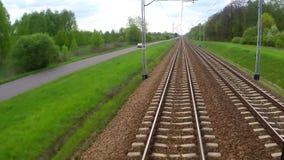 Άποψη από την κίνηση του τραίνου του σιδηροδρόμου φιλμ μικρού μήκους