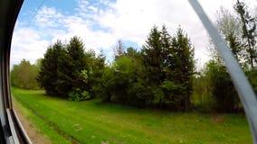 Άποψη από την κίνηση του τραίνου του σιδηροδρόμου απόθεμα βίντεο