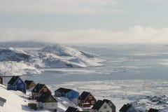 Άποψη από την κορυφή του μικρού πόλης πρώιμου ελατηρίου μας Στοκ Φωτογραφίες
