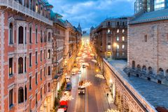 Άποψη από την κορυφή Viale ΧΧ Settembre στη Γένοβα Στοκ φωτογραφίες με δικαίωμα ελεύθερης χρήσης