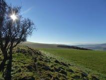 Άποψη από την πορεία αναχωμάτων Offa ` s με τις ακτίνες ήλιων μέσω του δέντρου και των μπλε ουρανών στοκ εικόνες