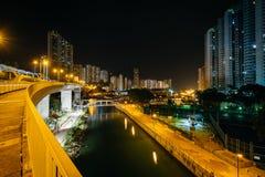 Άποψη από τη γέφυρα AP Lei Chau τη νύχτα, στο Χονγκ Κονγκ, Hong Ko Στοκ εικόνα με δικαίωμα ελεύθερης χρήσης