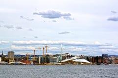 Άποψη από τη θάλασσα στο Όσλο και το φιορδ του Όσλο Νορβηγία Στοκ Εικόνα