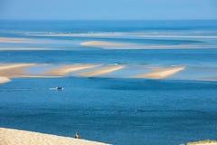 Άποψη από τον αμμόλοφο Pilat, ο πιό ψηλός αμμόλοφος άμμου στην Ευρώπη Λα teste-de-Buch, κόλπος του Αρκασόν, Aquitaine στοκ φωτογραφίες