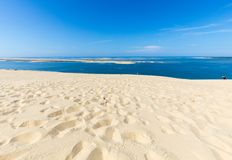 Άποψη από τον αμμόλοφο Pilat, ο πιό ψηλός αμμόλοφος άμμου στην Ευρώπη Λα teste-de-Buch, κόλπος του Αρκασόν, Aquitaine, στοκ εικόνες
