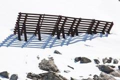 Άποψη από τον αυστριακό ανελκυστήρα καλωδίων στον παγετώνα Molltaler Στοκ φωτογραφία με δικαίωμα ελεύθερης χρήσης