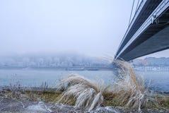 Άποψη από τον περίπατο της Μπρατισλάβα κοντά στη γέφυρα σλοβάκικο εθνικό Upris Στοκ Εικόνα