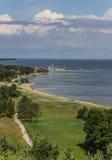 Άποψη από τον υψηλότερο αμμόλοφο πέρα από το curonian οβελό Στοκ φωτογραφίες με δικαίωμα ελεύθερης χρήσης