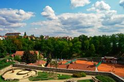 Άποψη από τους τοίχους πόλεων σε TÃ ¡ bor, Δημοκρατία της Τσεχίας, Αύγουστος στοκ εικόνες