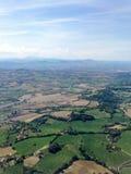 Άποψη από το αεροπλάνο στους τομείς, Ιταλία, Riccione Στοκ φωτογραφία με δικαίωμα ελεύθερης χρήσης