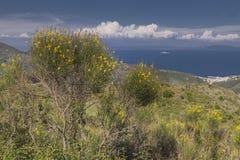 Άποψη από το βουνό Cima del Monte κοντά στο Ρίο nell Έλβα, Έλβα, Τοσκάνη, Ιταλία Στοκ Φωτογραφία