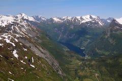 Άποψη από το βουνό Dalsnibba σε Geirangerfjord Στοκ Φωτογραφίες