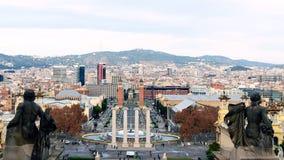 Άποψη από το Εθνικό Μουσείο του μαγικού montju πηγών της Βαρκελώνης Στοκ Φωτογραφίες