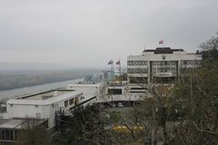 Άποψη από το κάστρο στο σλοβάκικο παλάτι των Κοινοβουλίων στοκ εικόνες με δικαίωμα ελεύθερης χρήσης
