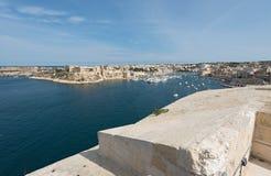 Άποψη από το οχυρό Άγιος Angelo σε Kalkara και Birgu Στοκ εικόνες με δικαίωμα ελεύθερης χρήσης