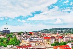 Άποψη από το υποστήριγμα στο μέρος πόλεων της Βουδαπέστης Buda Στοκ Εικόνα