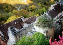 Άποψη από το λόφο Rocamadour στοκ εικόνες