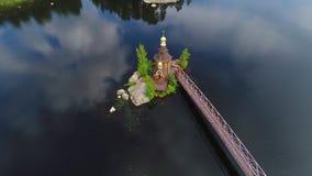 Άποψη από το ύψος στην εκκλησία του ST Andrew Vasilievo, περιοχή του Λένινγκραντ φιλμ μικρού μήκους