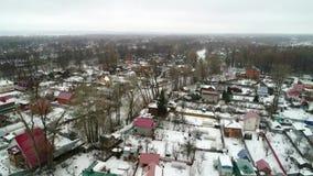 Άποψη από το copter του χωριού το χειμώνα απόθεμα βίντεο