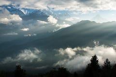 Άποψη από το Hill Poon σημείου άποψης σε Annapurna Στοκ Εικόνα