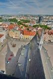 Άποψη από το ST Bartholomew&#x27 πύργος καθεδρικών ναών του s Plzen cesky τσεχική πόλης όψη δημοκρατιών krumlov μεσαιωνική παλαιά Στοκ Εικόνα